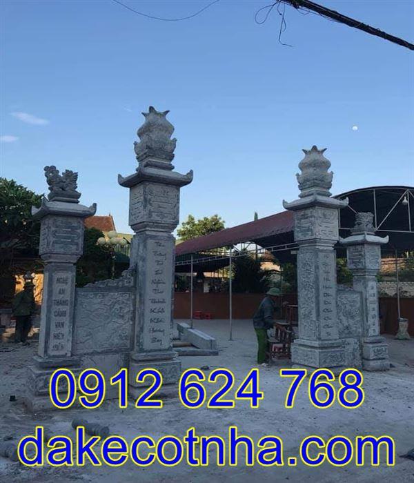 Mẫu cột đồng trụ đẹp đơn giản nhà thờ họ, cột đá đồng trụ đẹp đơn giản