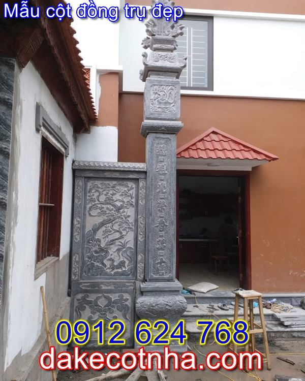 Mẫu cột đồng trụ nhà thờ họ đẹp bằng đá 02